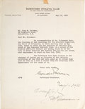 Football Collectibles:Others, 1930 John Heisman Signed Downtown Athletic Club Letter - With Historic Content....