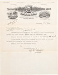 Baseball Collectibles:Others, 1924 Charles Ebbets Signed Letter....