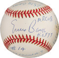 Baseball Collectibles:Balls, 2000's Ernie Banks Single Signed, Stat Inscribed Baseball. ...