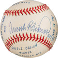 Baseball Collectibles:Balls, 2000's Frank Robinson Single Signed, Stat Inscribed Baseball. ...