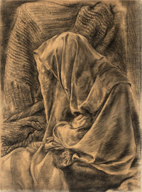 George Grosz (1893-1959) Draped Dummy, 1936 Charcoal on paper 24-3/4 x 19 inches (63 x 48.3 cm) (