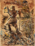 Fine Art - Work on Paper:Watercolor, George Grosz (1893-1959). The Wanderer, 1936. Watercolor,gouache, reed pen, and pen and ink on paper. 24-3/4 x 19-3/8 i...