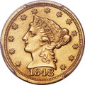 Liberty Quarter Eagles, 1848 $2 1/2 CAL. -- Plugged -- PCGS Genuine. AU Details....