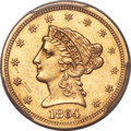 Liberty Quarter Eagles, 1864 $2 1/2 -- Scratch -- PCGS Genuine. AU Details....