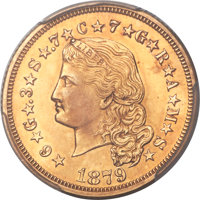 1879 $4 Flowing Hair, Judd-1635, Pollock-1833, R.3 -- Tooled -- PCGS Proof Genuine. Unc Details....(PCGS# 8057)
