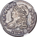 Bust Dimes, 1827 10C Pointed Top 1, JR-12, R.1, MS65 NGC....