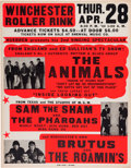 Music Memorabilia:Posters, Animals Winchester Roller Rink Concert Poster (1966)....