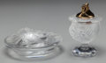 Art Glass:Lalique, Lalique Clear and Frosted Glass Lion Ashtray and CigarLighter. Post-1945. Engraved Lalique, France. Ht. 5 i...(Total: 2 Items)