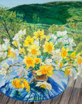 Paintings, Janet Fish (b. 1938). Daffodils and Spring Trees, 1988. Oil on canvas. 60 x 48 inches (152.4 x 121.9 cm). Signed and dat...