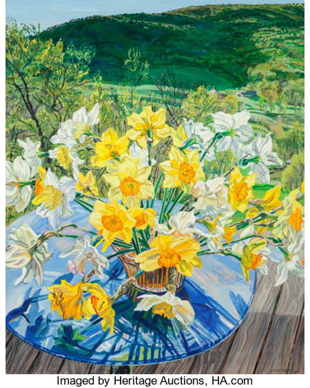 Janet Fish (b. 1938)Daffodils and Spring Trees, 1988Oil on canvas60 x 48 inches (152.4 x 121.9 cm)Signed and dat...