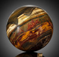 Lapidary Art:Eggs and Spheres, Large Tiger's Eye Sphere. Mt. Brockman Station. Pilbara. Western Australia. ...
