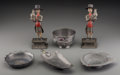 Asian:Chinese, Six Chinese Pewter Table Articles. Marks: (various). 7-5/8 inches(19.4 cm) (tallest). The lot comprising hardstone-mounte... (Total:6 Items)
