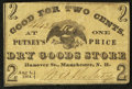 Obsoletes By State:New Hampshire, Manchester, NH- Putney's Dry Goods Store 2¢ Aug. 1, 1864. ...