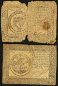 Continental Currency November 29, 1775 $8 About Good; Continental Currency September 26, 1778 $5 Fine.<
