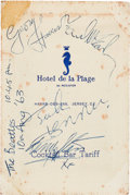 Music Memorabilia:Memorabilia, Beatles Signed Hotel de la Plage Bar Menu (Jersey, ChannelIslands,1963)....
