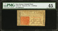 Colonial Notes:New Jersey, New Jersey March 25, 1776 6s PMG Choice Extremely Fine 45.. ...