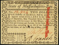 Colonial Notes:Massachusetts, Massachusetts May 5, 1780 $2 About New, Slash Cancel.. ...