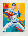 Baseball Collectibles:Photos, Circa 1990 Sandy Koufax Serigraph by LeRoy Neiman, Signed by Both....