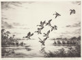 Fine Art - Work on Paper:Print, Hans Kleiber (German/American, 1887-1967). Morning on the Marshes. Etching. 7-5/8 x 10-3/4 inches (image). 12-5/8 x 15-7...