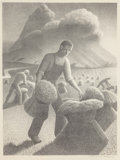 Fine Art - Work on Paper:Print, Grant Wood (American, 1891-1942). Approaching Storm, 1940.Lithograph. 11-3/4 x 8-3/4 inches (image). 16 x 12-1/2 inches...