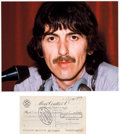 Music Memorabilia:Memorabilia, Beatles - George Harrison Signed Check with Photo (UK, Feb 2,1977)....
