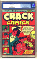 Golden Age (1938-1955):Crime, Crack Comics #1 (Quality, 1940) CGC VF- 7.5 Off-white pages.
