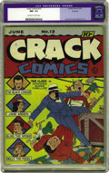 Golden Age (1938-1955):Superhero, Crack Comics #13 - ROCKFORD PEDIGREE (Quality, 1941) CGC NM- 9.2 Off-white to white pages.