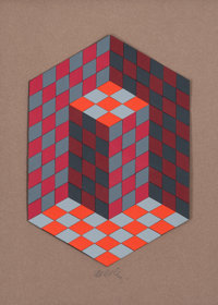 Victor Vasarely (1906-1997) Composition, circa 1980 Acrylic on board laid on panel 17-3/4 x 13-1/