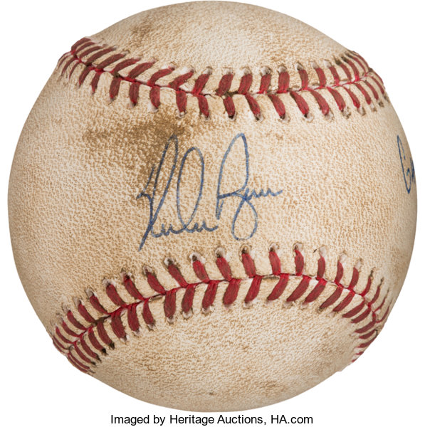 1990 Nolan Ryan Signed 300th Victory Game Used Baseball