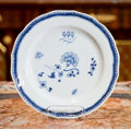 Asian, A Blue and White Porcelain Plate. 9-1/2 inches diameter (24.1 cm)....