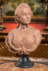 A French Terracotta Bust of a Young Woman after A. Conord, late 20th century Marks: A. Conord, 1763