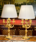 Decorative Arts, French, A Pair of Louis XV-Style Gilt Bronze Candelabra Mounted as Lamps,late 19th century and later. 37 inches high (94.0 cm)... (Total: 2Items)
