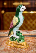 Asian:Chinese, A Gilt Bronze-Mounted Chinese Export Porcelain Figure of Parrot,19th century and later. 10 inches high (25.4 cm). ...