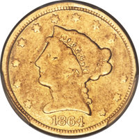 1864 $2 1/2 -- Mount Removed -- PCGS Genuine. Good Details....(PCGS# 7800)