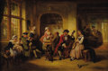 Fine Art - Painting, European:Antique  (Pre 1900), HENRICUS ELBERTICUS (Dutch 1817-1900). Merry Company in a Tavern. Oil on beveled mahogany panel. 11 x 15-1/2 inches (27....