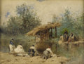 Fine Art - Painting, European:Antique  (Pre 1900), EUGENE CICERI (French 1813-1890). Les lavandières, 19thCentury. Watercolor on paper. 8-1/2 x 11 inches (21.6 x 27.9 cm)...