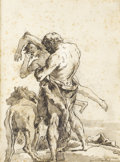 Fine Art - Painting, European:Antique  (Pre 1900), GIOVANNI DOMENICO TIEPOLO (Italian 1727-1804). Hercules andAnteas. Pen, ink, wash and pencil on paper. 8-1/8 x 6 inches...