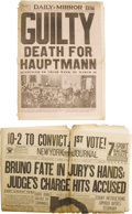 Miscellaneous:Ephemera, Five Newspapers Relating to Bruno Hauptmann, Convicted Murderer ofthe Lindbergh Baby.... (Total: 5 Items)