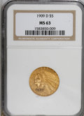 Indian Half Eagles, 1909-D $5 MS63 NGC....