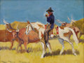 Texas:Early Texas Art - Regionalists, RUTH MONRO AUGUR (1886-1967). Untitled Cowboy Smoking. Oil oncanvasboard. 9 x 12 inches (22.9 x 30.5 cm). Signed lower left...