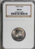 Washington Quarters: , 1932-S 25C MS64 NGC. . NGC Census: (495/63). PCGS Population(927/92). Mintage: 408,000. Numismedia Wsl. Price for NGC/PCGS...
