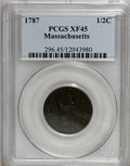Colonials, 1787 1/2 C Massachusetts Half Cent XF45 PCGS....