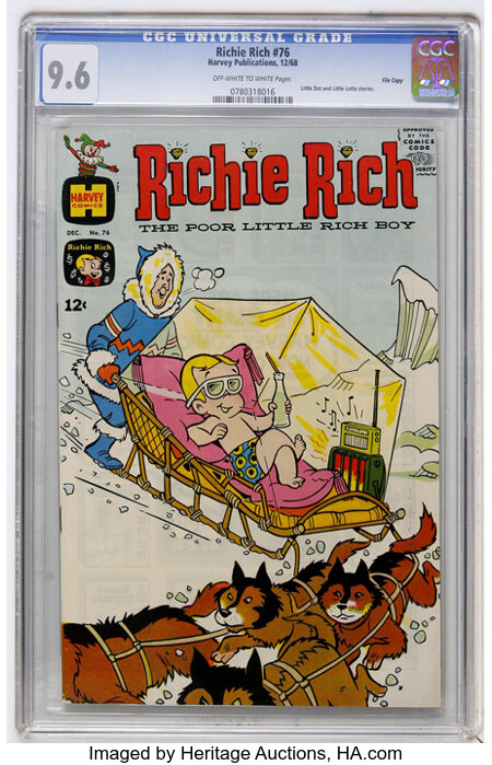 Richie Rich #76 File Copy (Harvey, 1968) CGC NM+ 9.6 Off-white to white pages....