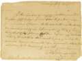 "Autographs:Military Figures, Philip Van Cortlandt Autograph Letter Signed ""Philip Cortlandt LCol,"" one page, 8.5"" x 6"". Ticonderoga, July 23, 1776..."