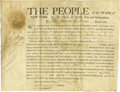 """Autographs:Statesmen, George Clinton Partly Printed Document Signed """"Geo: Clinton""""as Governor of New York, one page, 10.75"""" x 8.25"""". On vellu..."""