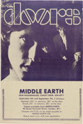 Music Memorabilia:Posters, Doors/Jefferson Airplane Double-Sided Middle Earth Handbill (UK,1968)....
