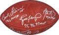 Football Collectibles:Balls, Green Bay Packers Multi-Signed Five MVP's Football - Starr, Favre, Rodgers, Taylor, Hornung. ...