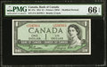 Canadian Currency: , BC-37a $1 1954 Modified Portrait.. ...