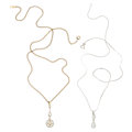 Estate Jewelry:Necklaces, Diamond, Platinum, Platinum-Topped Gold, White Gold, Gold-Filled Pendant-Necklaces. ... (Total: 2 Items)