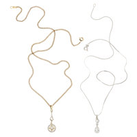 Diamond, Platinum, Platinum-Topped Gold, White Gold, Gold-Filled Pendant-Necklaces